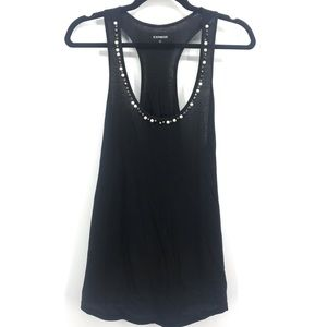 Express small tank top black with pearl neck line